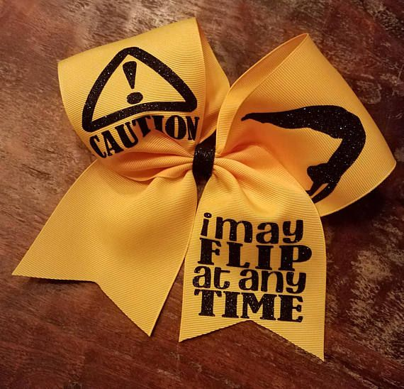 """$10. Caution I may """"Flip"""" at Any Time Cheer Bow / Dance Bow / Gymnastics Bow. Cheerleading hair bow. Cheerleader gift. Cheer squad. Tumbling! Competitive cheers. #cheerleading #ad"""