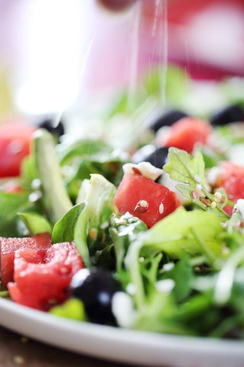 Salade fraîche à la pastèque et à la feta