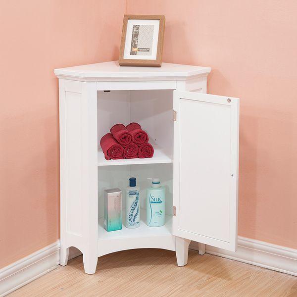 Bayfield White Shutter Door Corner Floor Cabinet