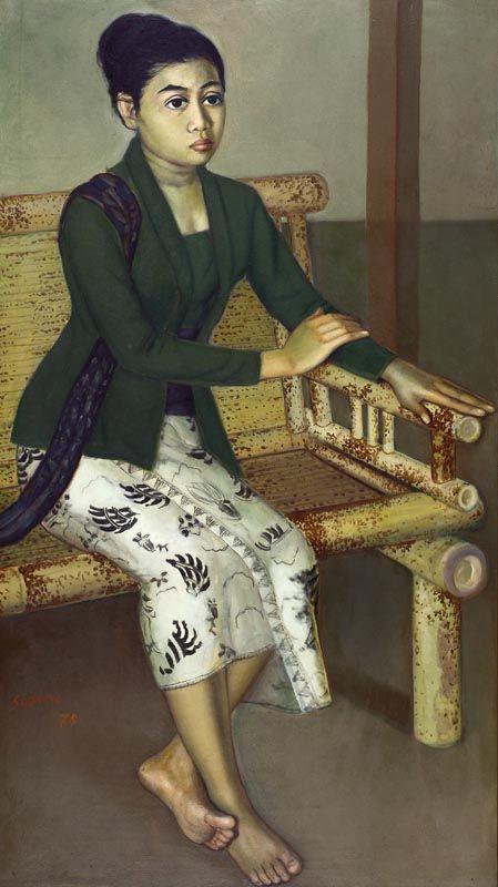 Sudarso (Purwokerto, 1914 - 2006) -  Seated Lady in Green Kebaya, 1978