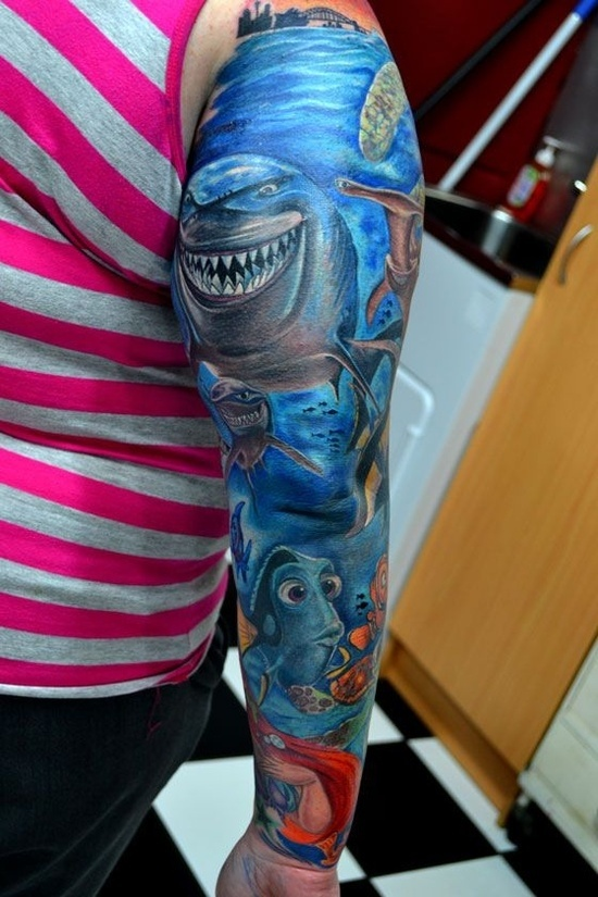 tattoo finding nemo sleeve tattoos pinterest sleeve finding nemo and tattoos and body art. Black Bedroom Furniture Sets. Home Design Ideas