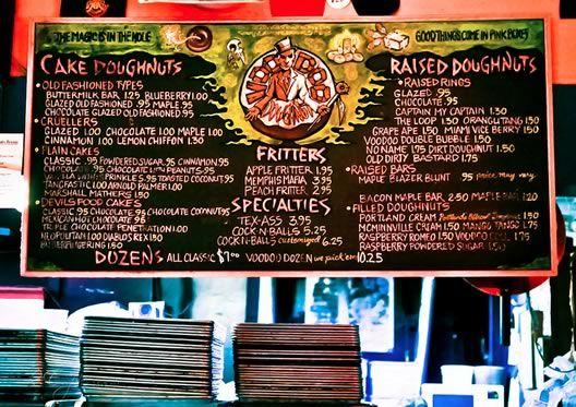 menu board at voodoo-doughnuts. Everyone at KRS at doughnuts from a bucket this morning. Because health! #retaildesign