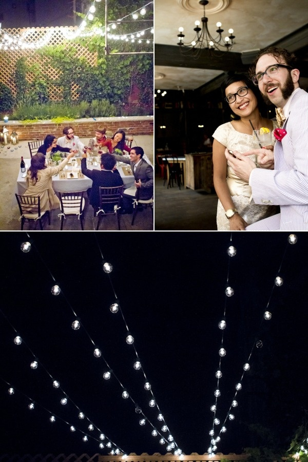 small outdoor wedding, 12 course meal, twinkle lights, indigo flowers