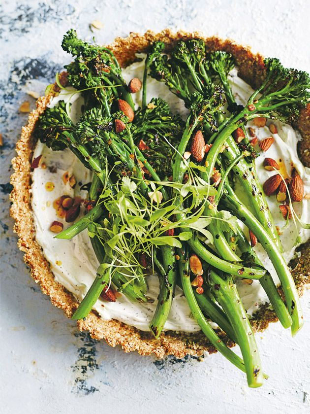 grilled broccolini and labne almond tart