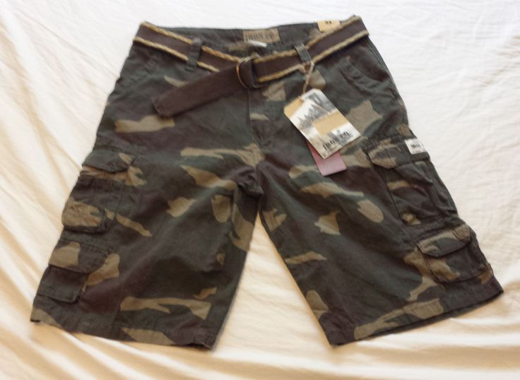 Men size  W34 Cargo Camouflage #cotton shorts with belt by IRON CO NWT visit our ebay store at  http://stores.ebay.com/esquirestore