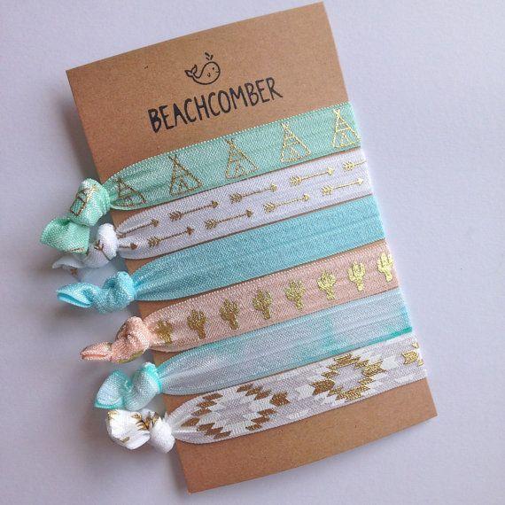 hair tie bracelets, beach bracelets, bohemian jewelry, beach accessory, friendship bracelets, aztec bracelet, girl gift