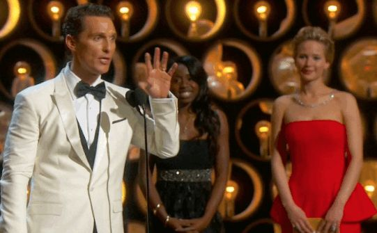 When she got bored halfway through Matthew McConaughey's speech and started chatting up the girl standing next to her.