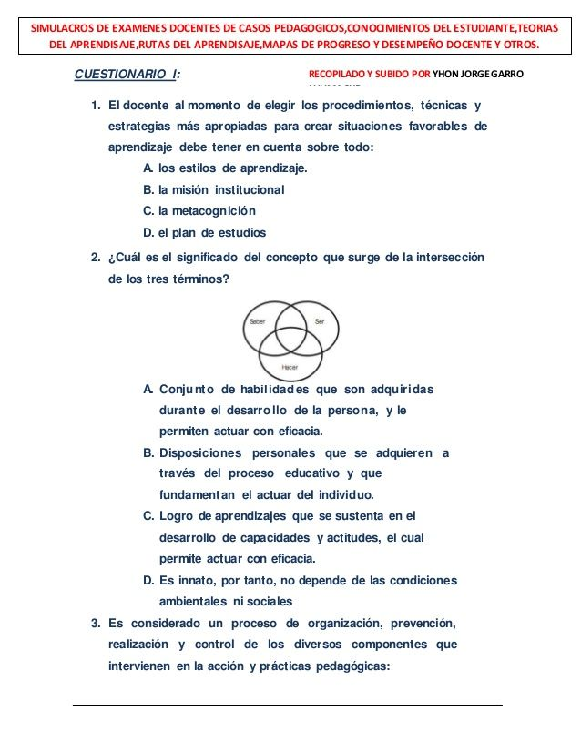 Simulacros de exámenes docentes con  742 casos pedagógicos y otros    subido por Yhon Jorge Garro.L- 18-01-2015