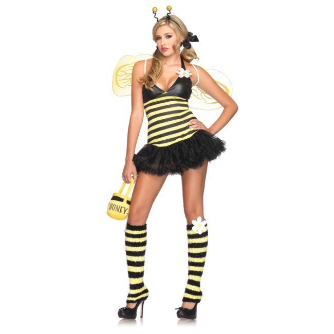 Sexy bijen kostuum voor dames. Een sexy bij kostuum voor dames bestaande uit de petticoat jurk, haarband, vleugels en bijpassende beenwarmers. Luxe kwaliteit. Carnavalskleding 2015 #carnaval