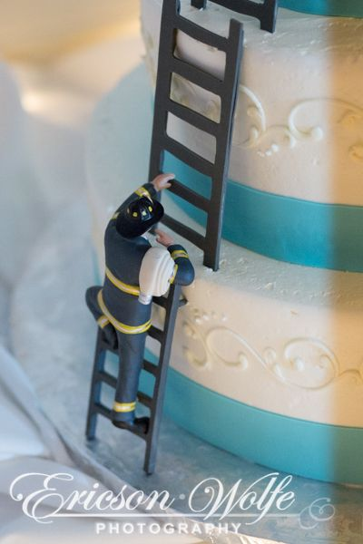 Wedding Cake With Firefighter Climbing To The Top Bride Wedding