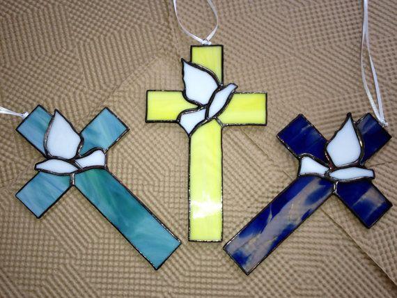 Stained Glass Cross Suncatcher by BRGlassWorks on Etsy