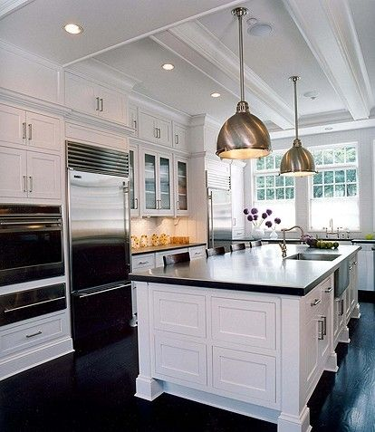 Chrome yoke industrial island pendants white kitchen for Kitchen with white cabinets and black appliances