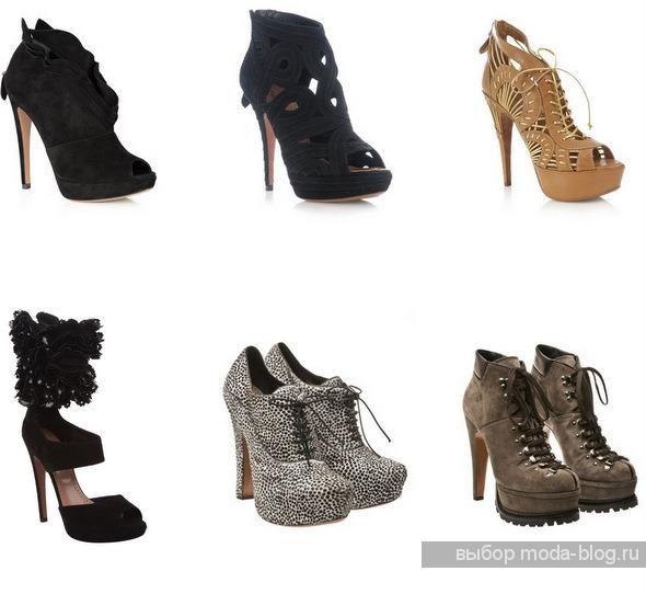 Массивные туфли на высоком каблуке