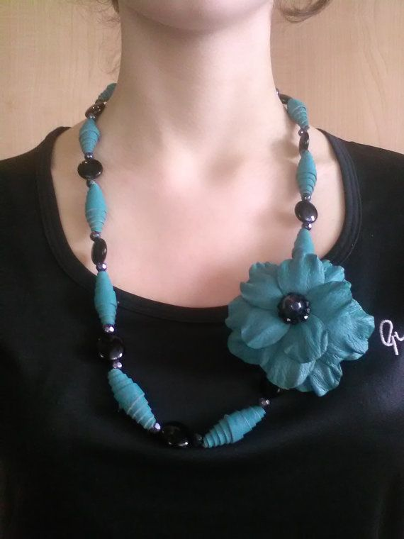 Flower Necklace Leather Necklace Turquoise by EKleathercreations