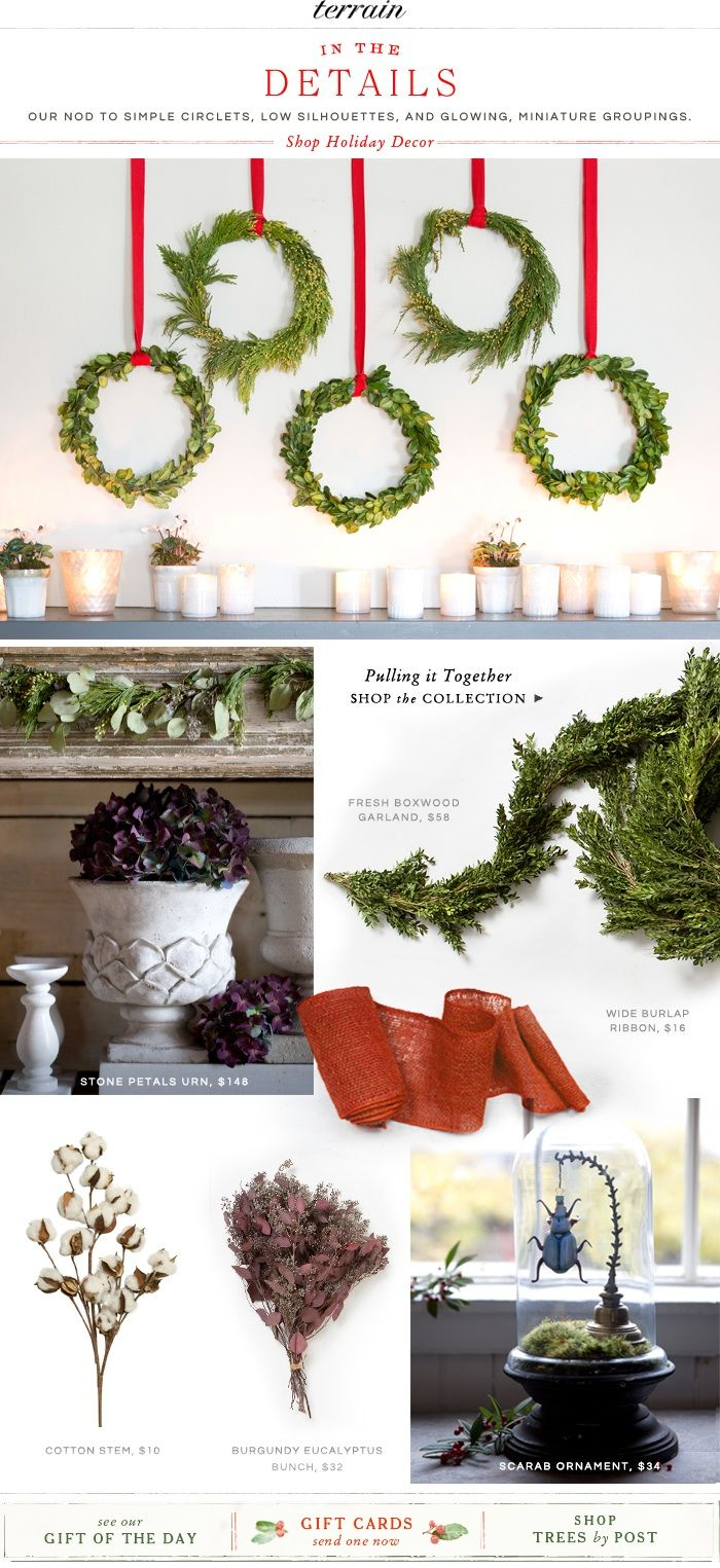 In the Details: Our holiday nod to simple circlets, low silhouettes, and glowing, miniature groupings.