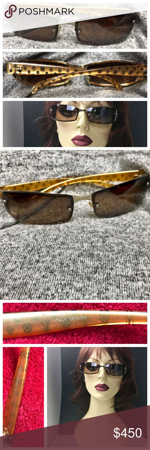 Vintage Louis Vuitton Sunglasses *Rare* Vintage 1990s Louis Vuitton Sunglasses wrap around style 💫Rare and Collectible 💫  These are 💯 Authentic purchased at Louis Vuitton store and in excellent vintage condition. Honey amber glitter plastic legs made in Italy with brown lenses that help reduce eye strain from bright sunlight. So incredibly unique and very hard to find let alone in this great condition. Originally $700.00 with tax. Louis Vuitton Accessories Glasses
