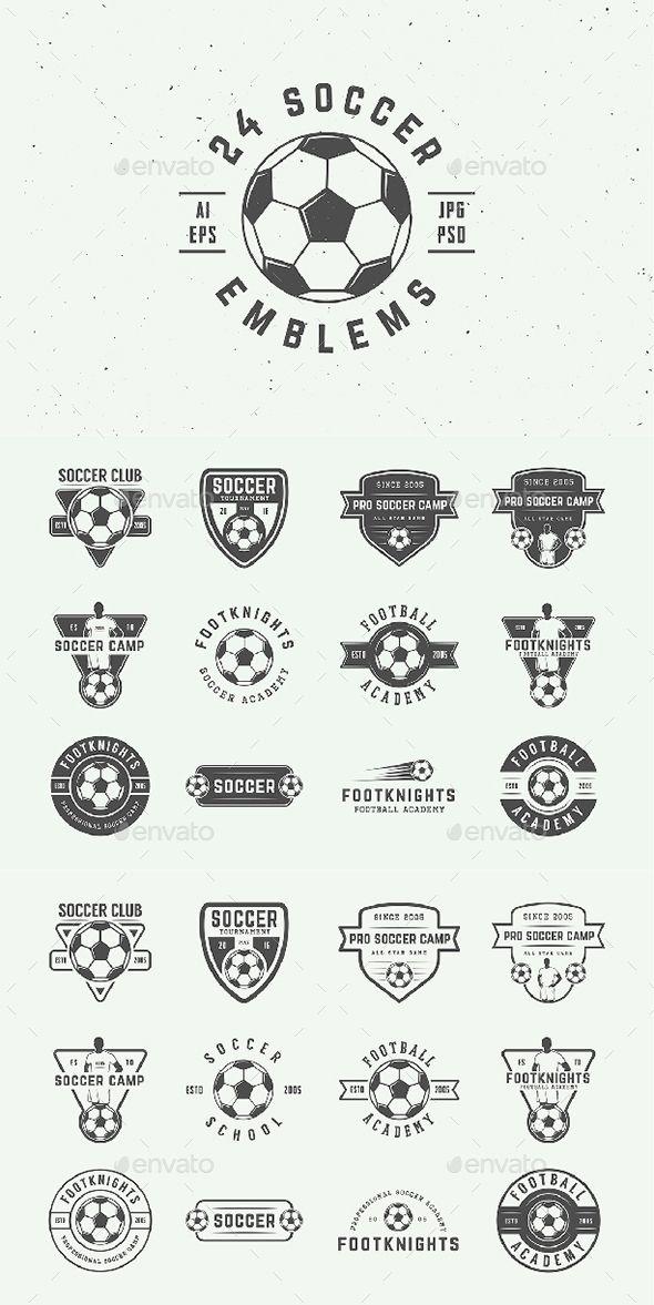 24 Vintage Soccer Emblems - Template PSD, Vector EPS, AI Illustrator