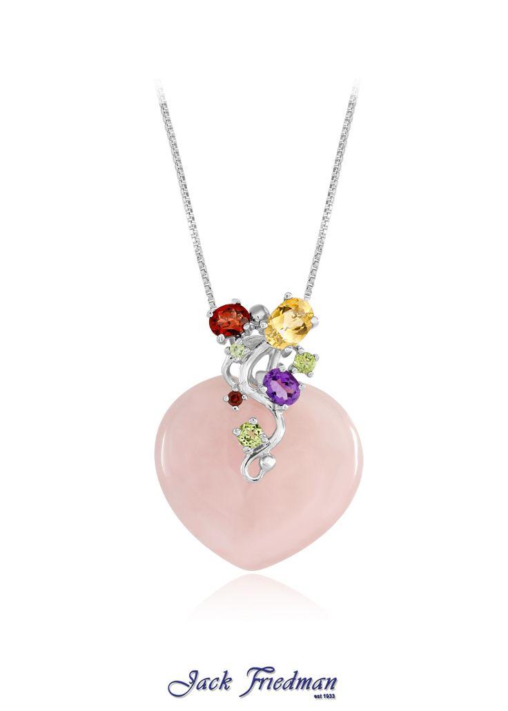 Rose quartz heart and gemstone pendant set in silver jackfriedman.co.za