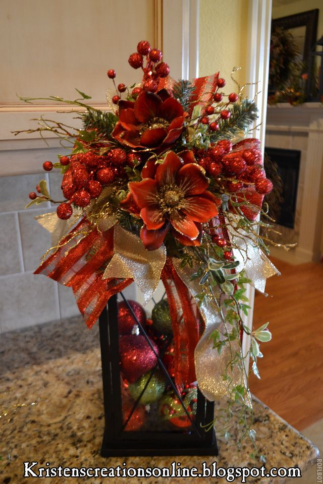 table center piece, may add some pine cones and miniature wrapped gifts.   Holiday   Pinterest   Christmas, Christmas decorations and Christmas lanterns
