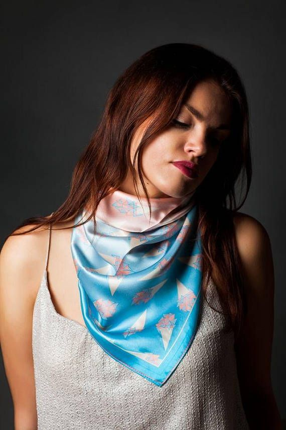 Blue and pink scarf.  Square scarf. Silk satin scarf. Ice