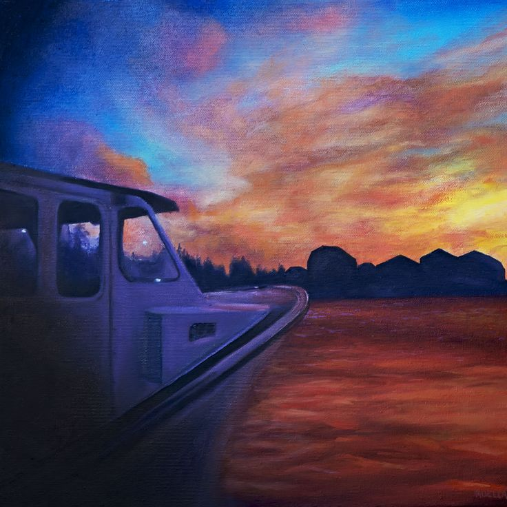 Sunrise. Oil on canvas of lobster fishing boat in Malpeque PEI