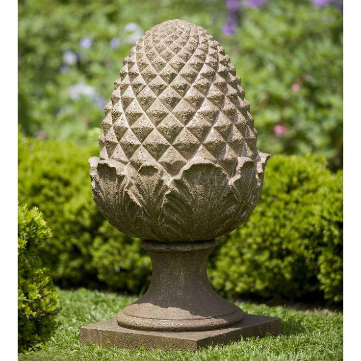 Campania International Williamsburg Grand Pinecone Cast Stone Garden Statue  $609.99 Alpine