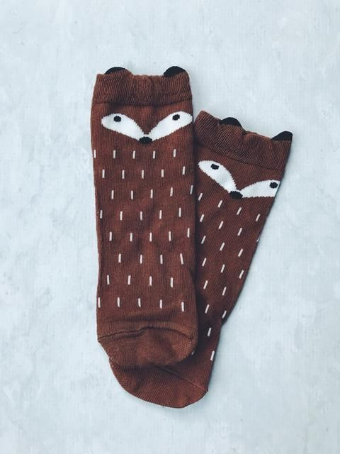 CHARACTER SOCKS - 'BROWN FOX'    #MamaFashionMe - Aussie Online Store with Beautiful Accessories for Girls + Some for Boys