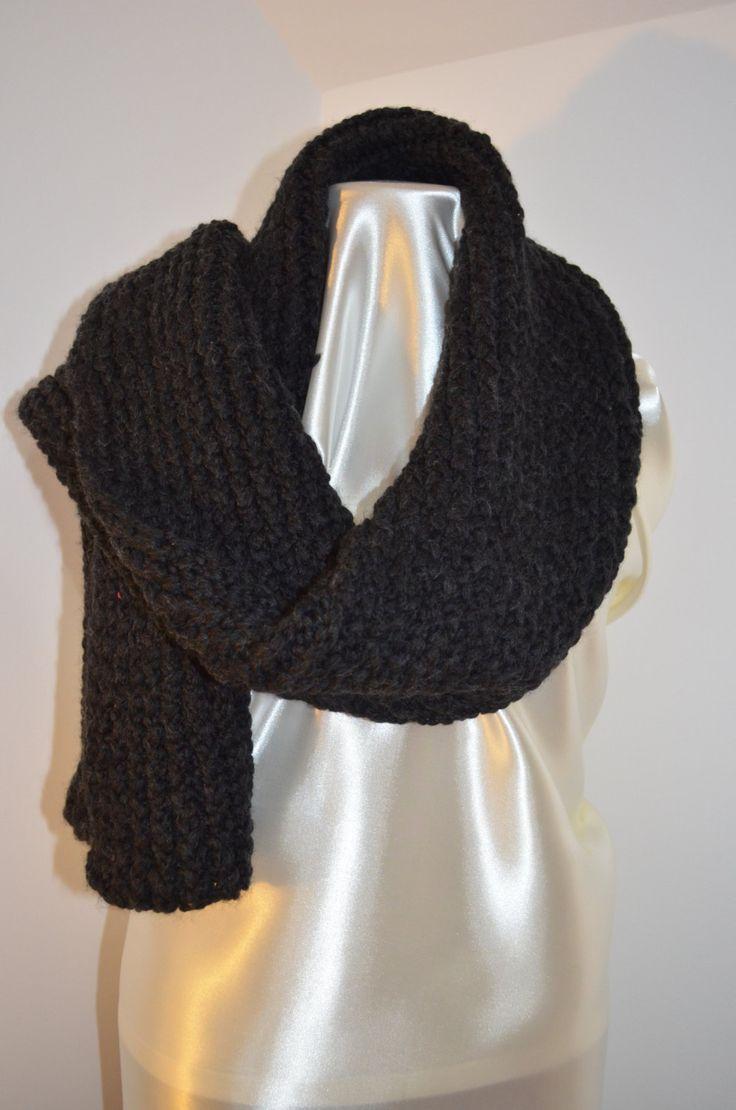 Sciarpa nera in pura lana d'alpaca di SaNaMarket su Etsy