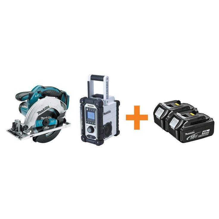 Makita 18-Volt LXT Lithium-Ion 6-1/2 in. Cordless Circular Saw and Compact Job Site Radio with Free 4.0Ah Battery (2-Pack)