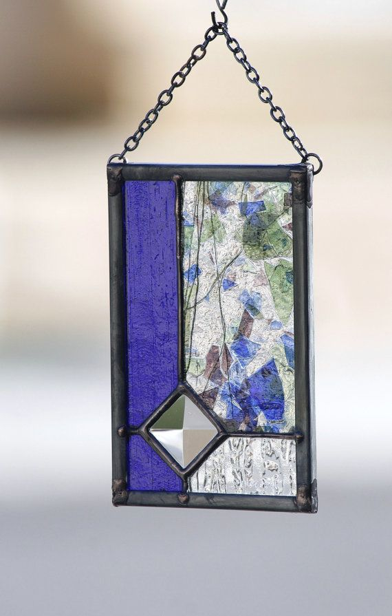 WATER GARDEN ~ Gift Boxed Stained Glass Christmas Ornament or Suncatcher    This abstract glass piece is from my Little Windows Collection of