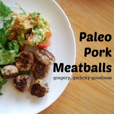 #Paleo Pork Meatballs with ginger, garlic, coriander and spring onions.