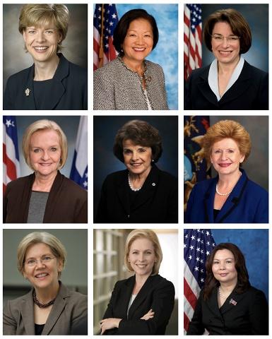 Pictured: United States Senators Tammy Baldwin, Mazie Hirono, Amy Klobuchar, Claire McCaskill, Dianne Feinstein , Debbie Stabenow, Elizabeth Warren, Kirsten Gillibrand and Congresswoman Tammy Duckworth.