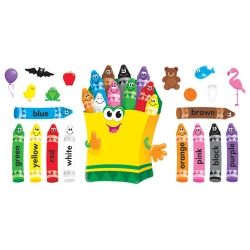 "Here's a vibrant set that brightens rooms, teaches color basics, and enhances matching, sorting, spelling, grouping, and math activities. Crayon box is 29"" high. 21-piece set. $10.00"