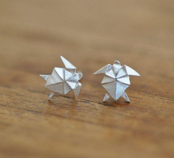 Origami TURTLE Earrings in Sterling Silver 925, Origami Animal Jewelry, Origami Jewelry, Jamber Jewels 925