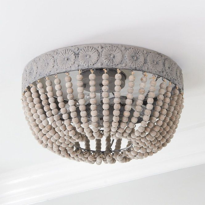 Aged Wood Beaded Ceiling Light In 2019 Wood Bead