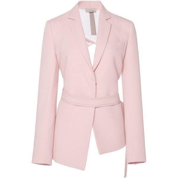Open Back Blazer | Moda Operandi (£1,165) ❤ liked on Polyvore featuring outerwear, jackets, blazers, wrap blazer, blazer jacket, pink blazer, open back blazer and pink jacket