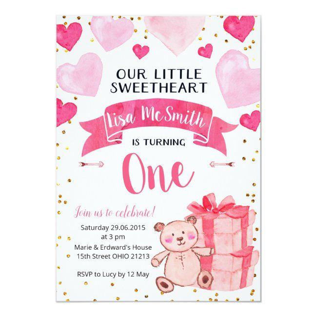 Our Little Sweetheart Is Turning One Invitation Sponsored