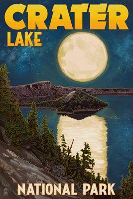Crater Lake National Park, Oregon - Lake & Full Moon - Lantern Press Poster