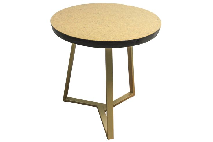 Kobenhavn-  modern round coffee table, black and gold, with metal legs, minimalist scandinavian design; masa cafea rotunda, design scandinav, auriu si negru