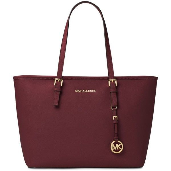 Michael Michael Kors Jet Set Travel Top Zip Tote (€170) ❤ liked on Polyvore featuring bags, handbags, tote bags, purses, merlot, tote purses, red purse, tote handbags, travel purse and handbags totes