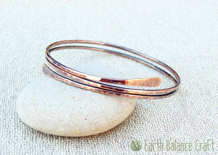 Rustic Copper Wrap Bangle - The raw copper has been shaped to follow the curve of your wrist and lightly hammered with a patina finish.