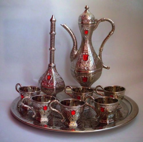 Turkish Copper ZAM-ZAM WATER, ROSE WATER, DATE BOWL Kindness Set,Tray,Islam -M02