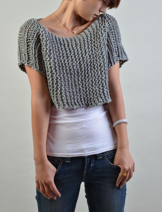 Hand knit sweater short sleeve cropped sweater/ by MaxMelody, $55.00