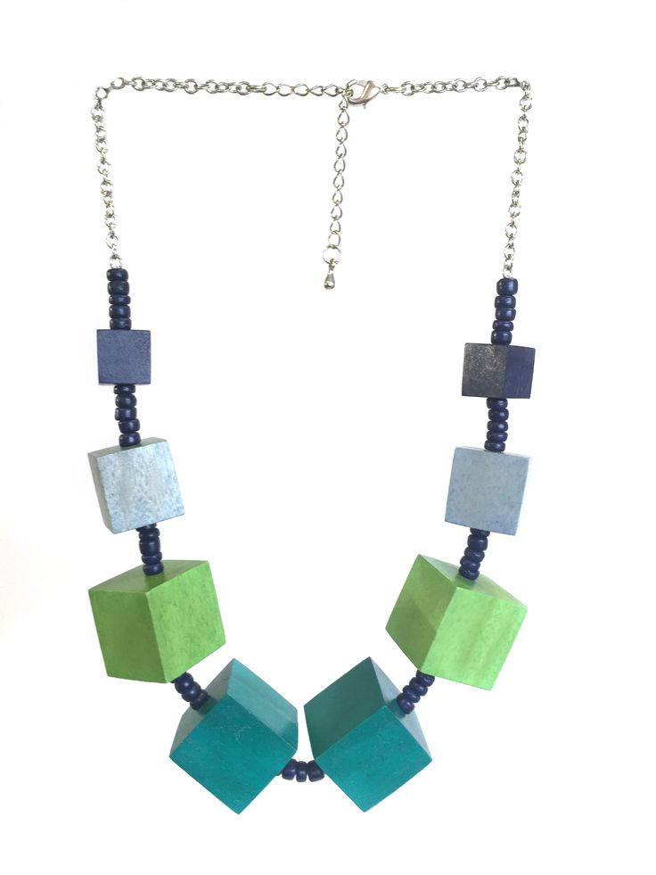 Hilda - short length One Button necklace with graduated cubes on a silver chain #green #blue #gorgeousgreens #necklace #accessories #onebutton Click to buy from the One Button shop.