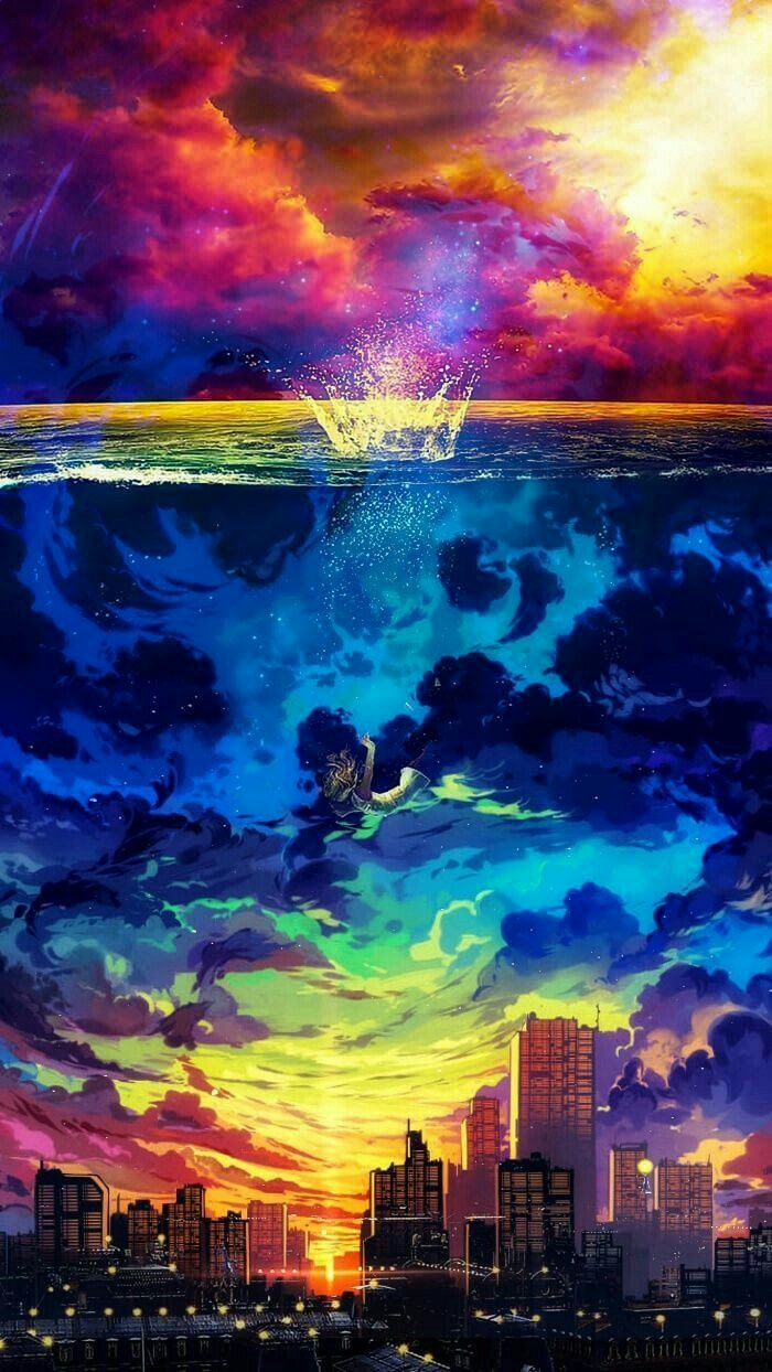 Rainbow version. Anime scenery, Fantasy landscape, Scenery