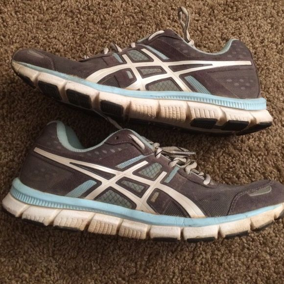 Asics gel running shoes Grey and blue worn Asics gel shoes. They could probably be washed and worn some more though! asics Shoes Sneakers