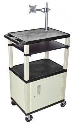 """H Wilson Black 42 In Presentation Cart Putty Legs and Cab Mount W/E by H Wilson. $589.00. Three 18"""" x 24"""" shelves for all presentation materials. All Shelves have a 1/4"""" safety retaining lip and a raised texture surface to enhance product placement and minimize sliding. 3-outlet UL approved electrical assembly with a 15 ft. cord, and cord management wrap. Electrical attachment is recessed so it doesn't add Cabinets are made of 20 gauge steel. Recessed chrome handle. Include..."""