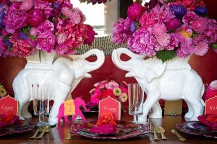 Indian Wedding Centerpieces--love the elephants!