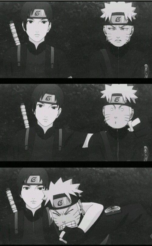 Sai & Naruto.. Aquela hora que a mãe pergunta se vc ta brigando com seu irmão e você tem que fingir que ta tudo bem.. hahahaha te entendo Sai #NARUTO