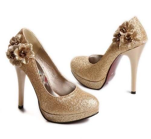 Zapatos Dorados 37 Taco Alto Con Flores
